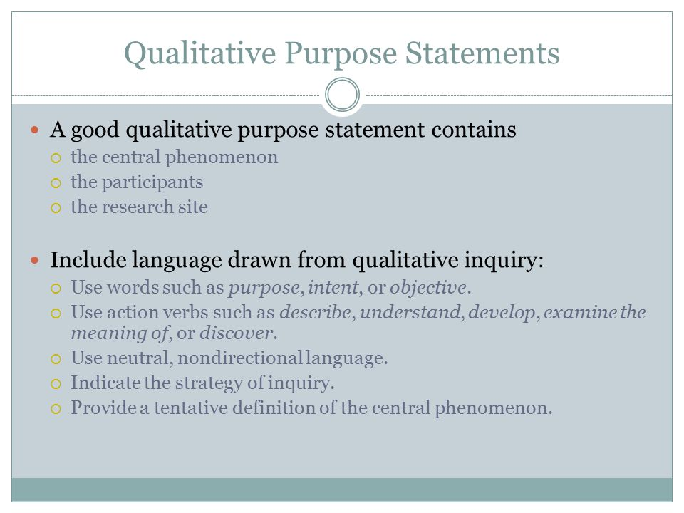 Qualitative Purpose Statements