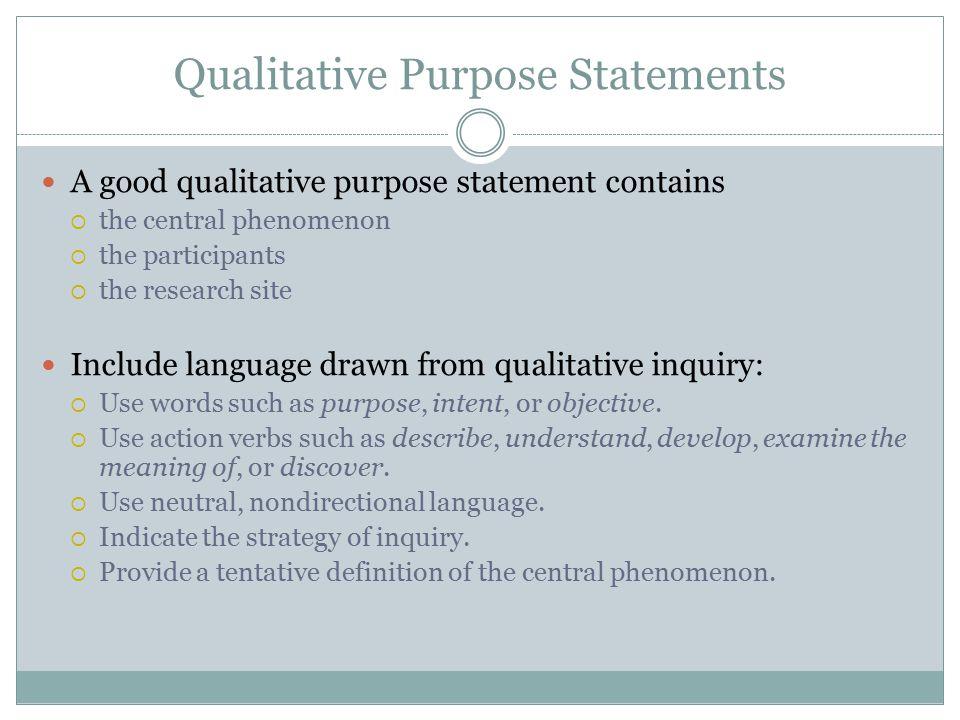 Qualitative Purpose Statements