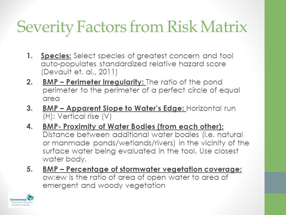 Severity Factors from Risk Matrix