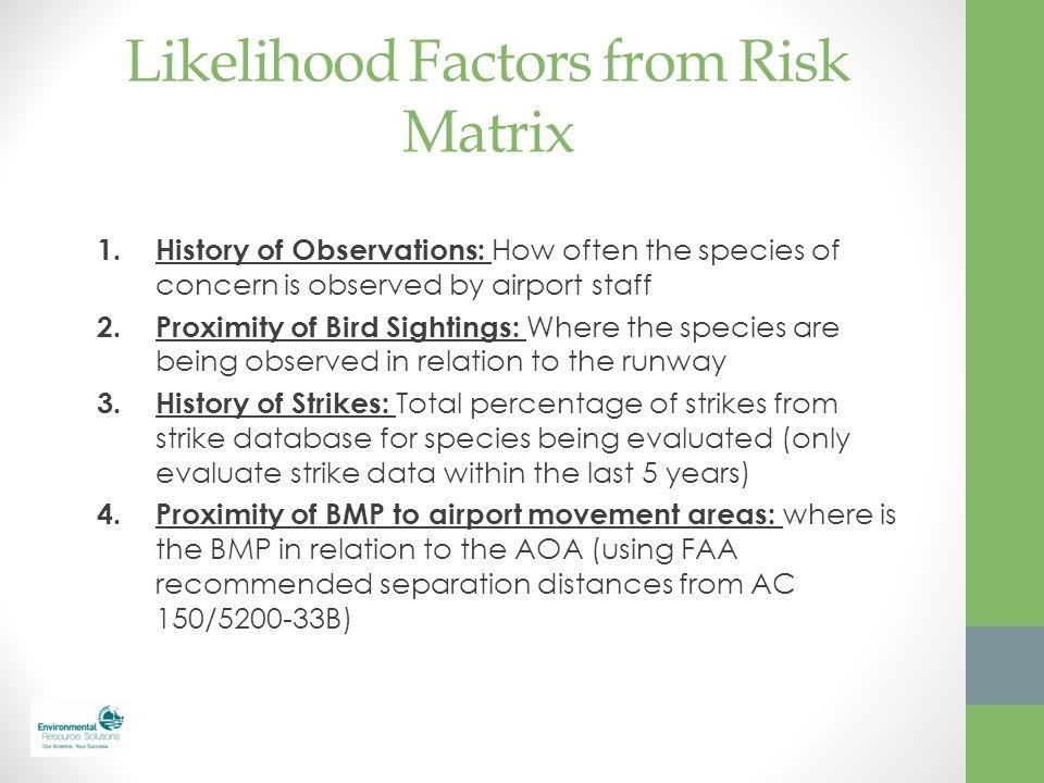 Likelihood Factors from Risk Matrix