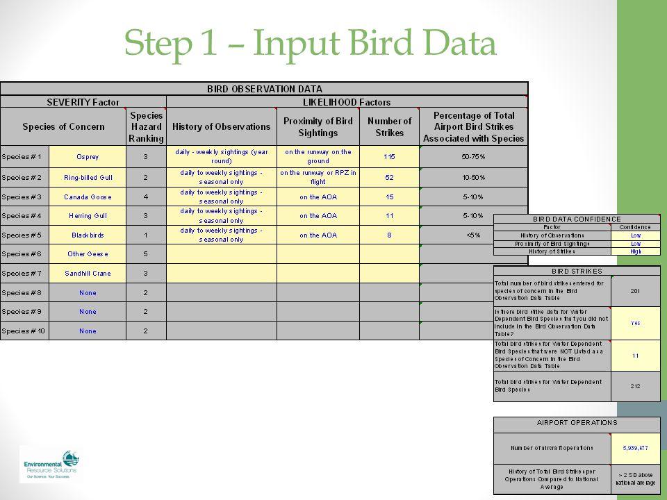 Step 1 – Input Bird Data