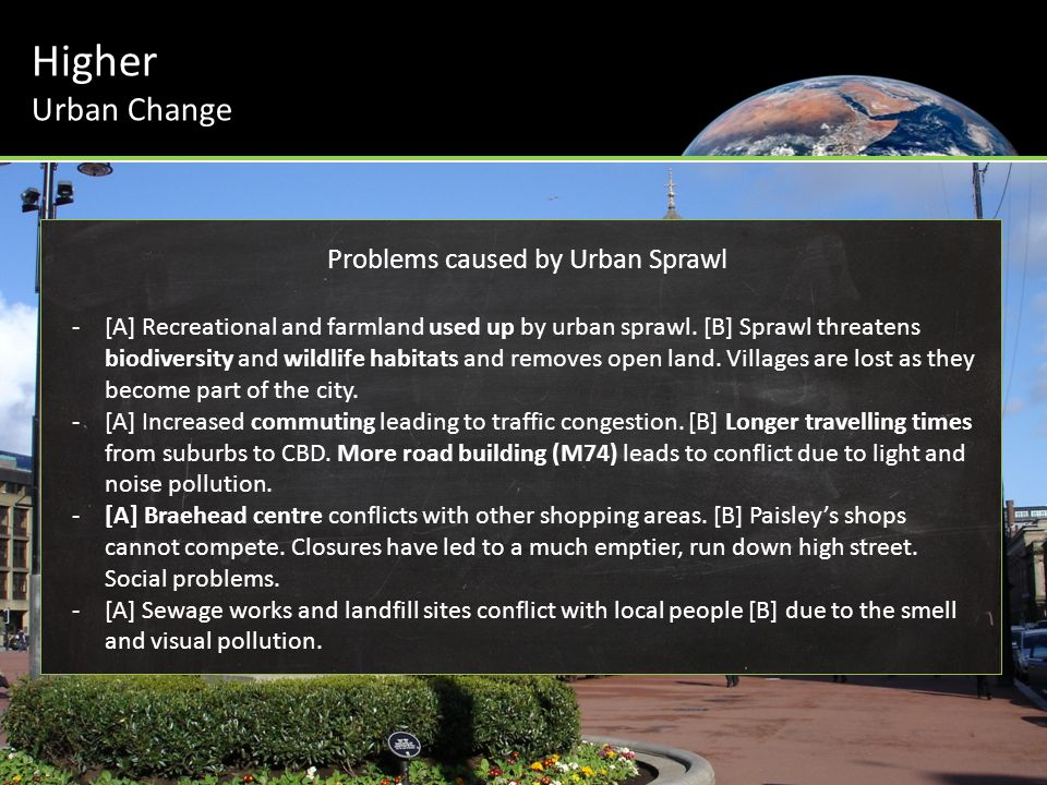 Problems caused by Urban Sprawl