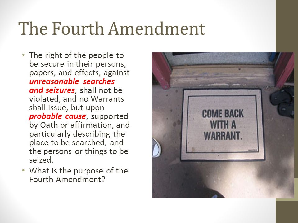 research papers on fourth amendment The 4th amendment essaysthere were few, if any, provisions of the bill of rights that grew so directly from the experience of the colonials as did the fourth amendment.