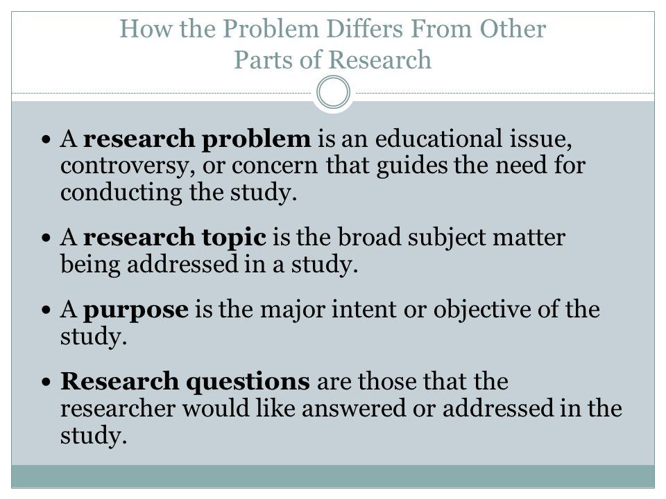 How the Problem Differs From Other Parts of Research