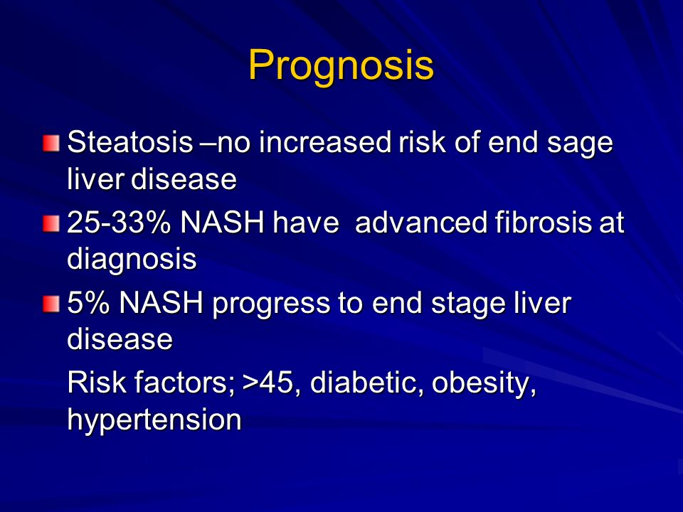 Prognosis Steatosis –no increased risk of end sage liver disease