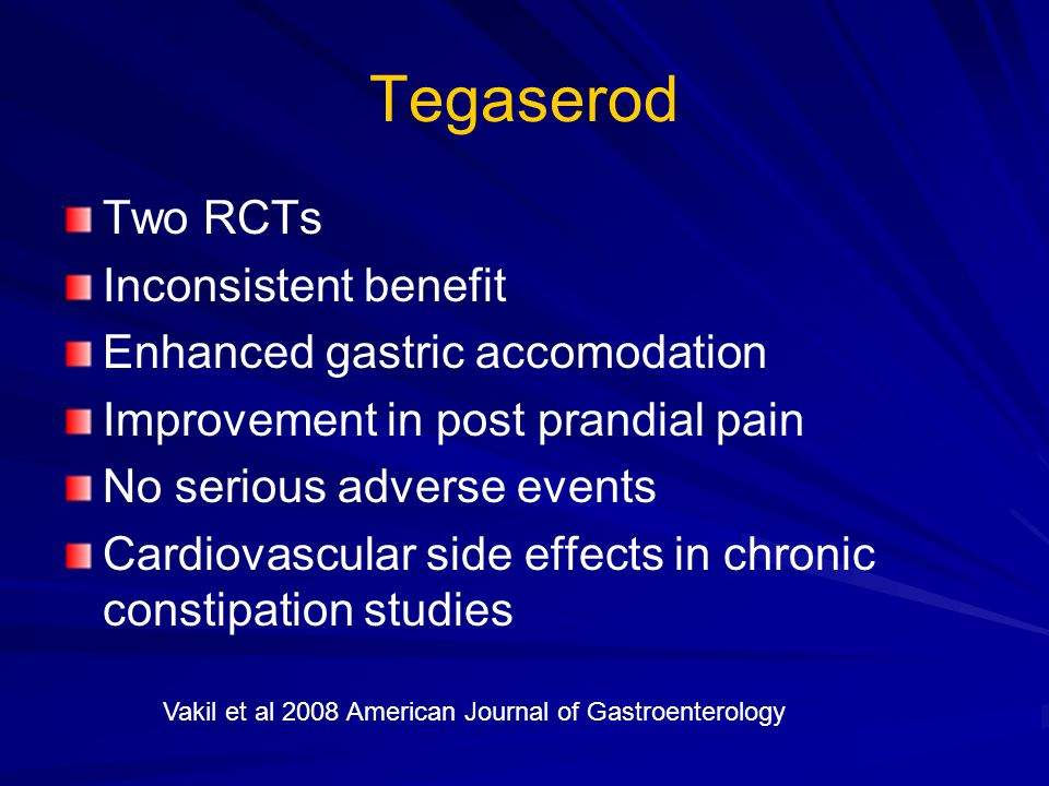 Tegaserod Two RCTs Inconsistent benefit Enhanced gastric accomodation