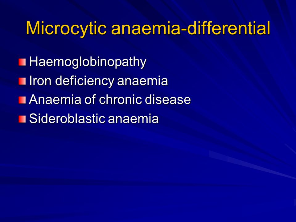 Microcytic anaemia-differential