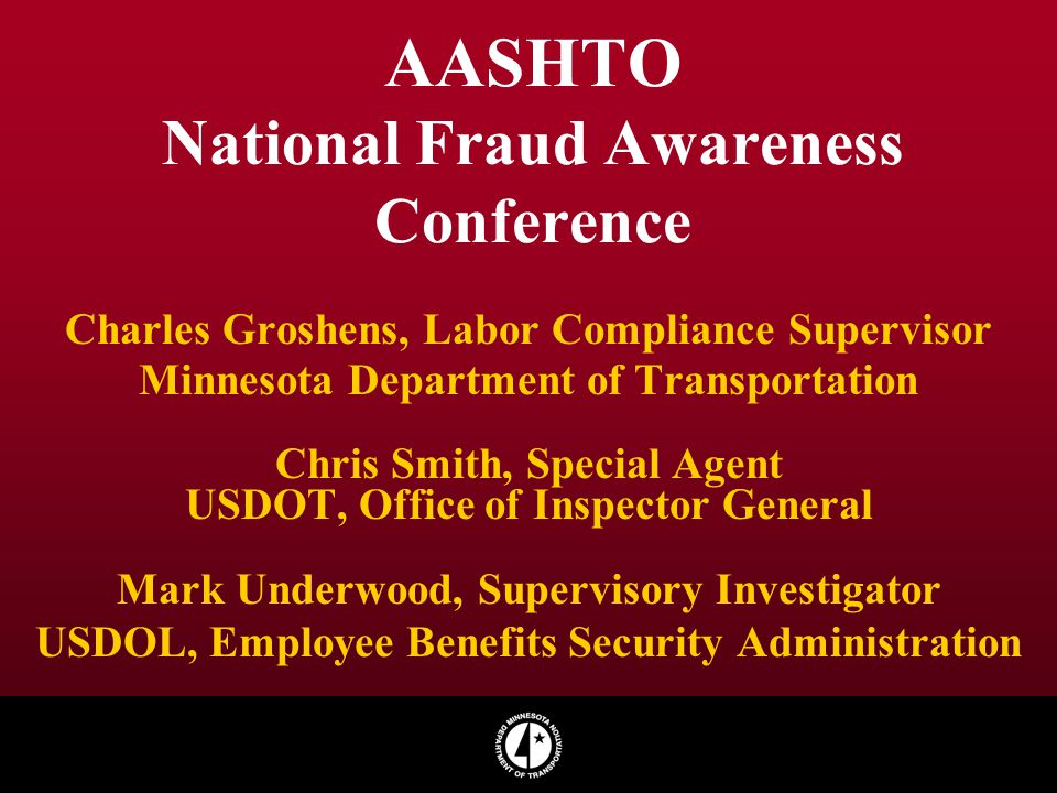 AASHTO National Fraud Awareness Conference