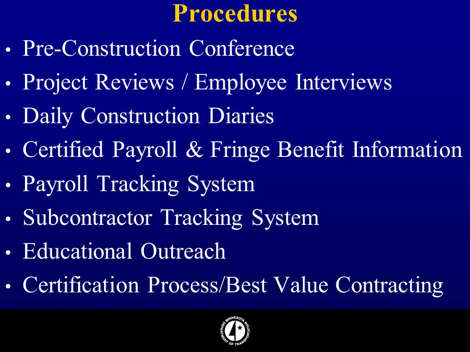 Procedures Pre-Construction Conference