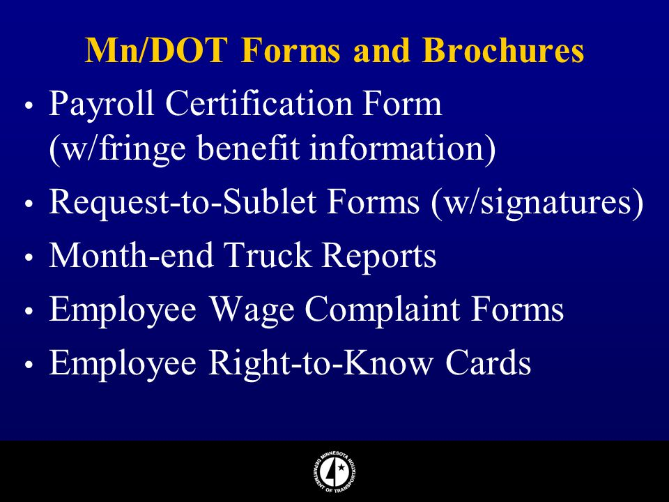 Mn/DOT Forms and Brochures