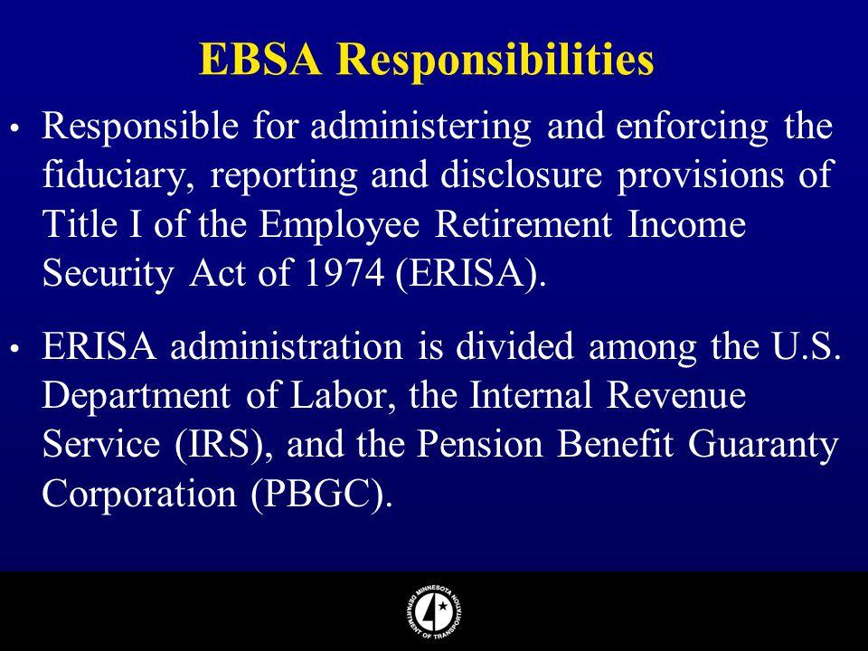 EBSA Responsibilities