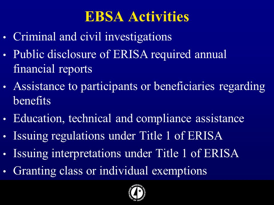 EBSA Activities Criminal and civil investigations