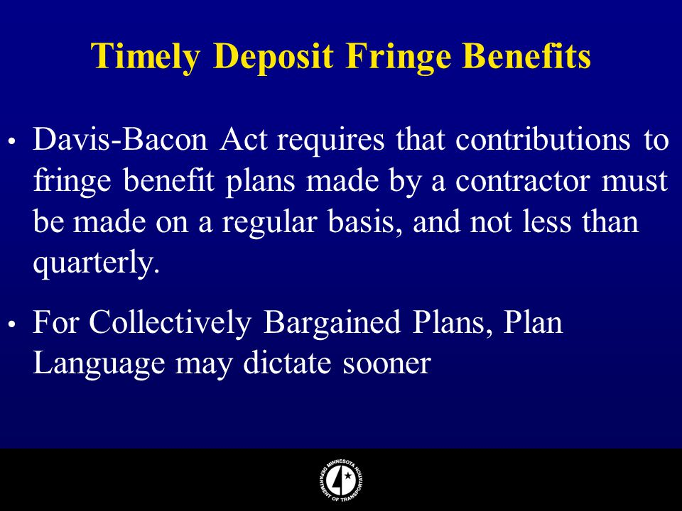 Timely Deposit Fringe Benefits
