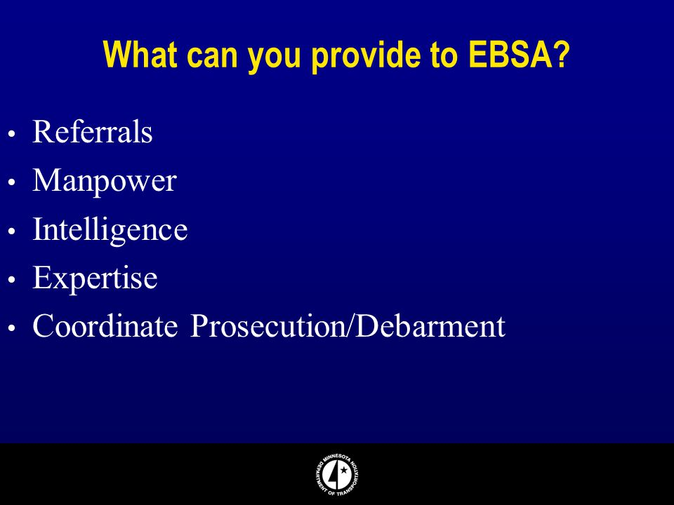What can you provide to EBSA