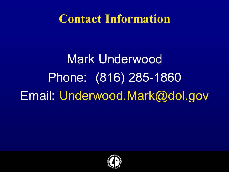 Email: Underwood.Mark@dol.gov