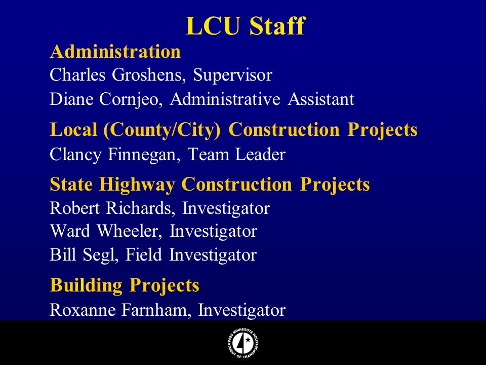 LCU Staff Administration Local (County/City) Construction Projects