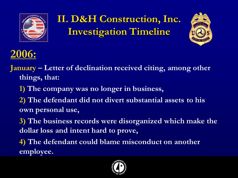 II. D&H Construction, Inc. Investigation Timeline