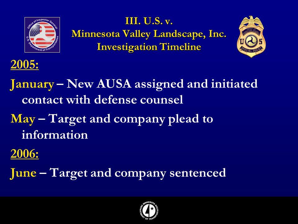 III. U.S. v. Minnesota Valley Landscape, Inc. Investigation Timeline