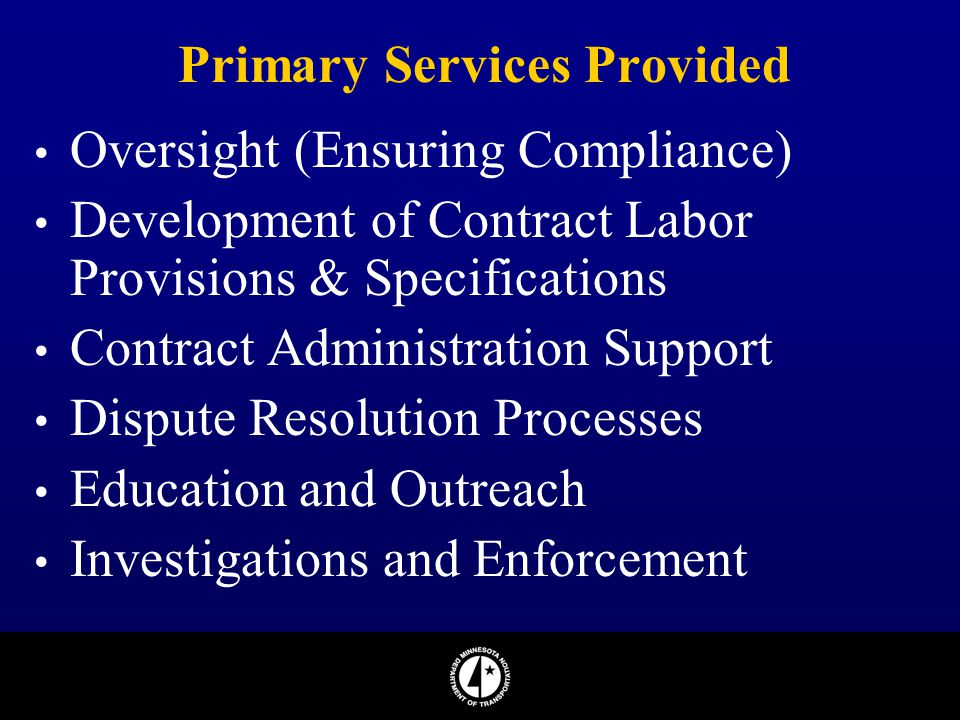 Primary Services Provided