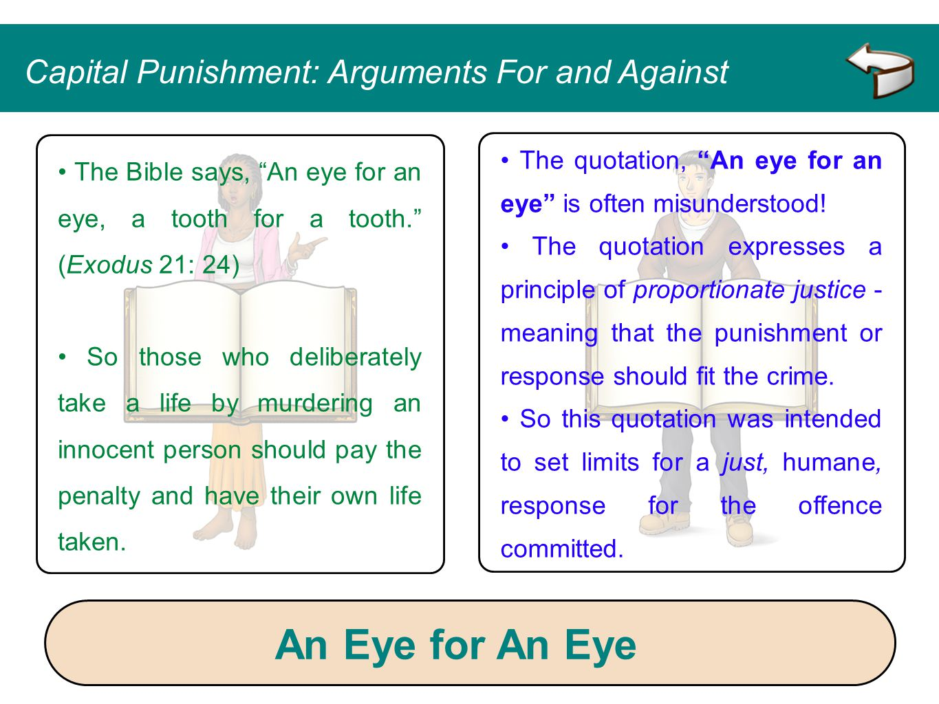 An Eye for An Eye Capital Punishment: Arguments For and Against