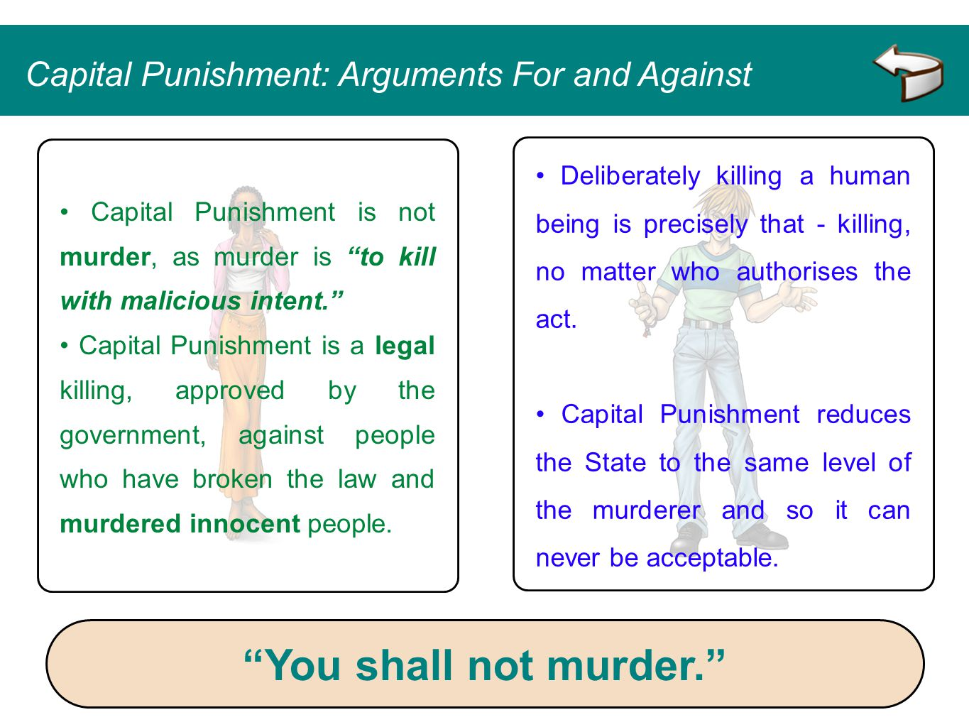 an arguments against capital punishment Against capital punishment essay 1273 words | 6 pages against capital punishment what is the true value of a human life and how can one trade it for another.