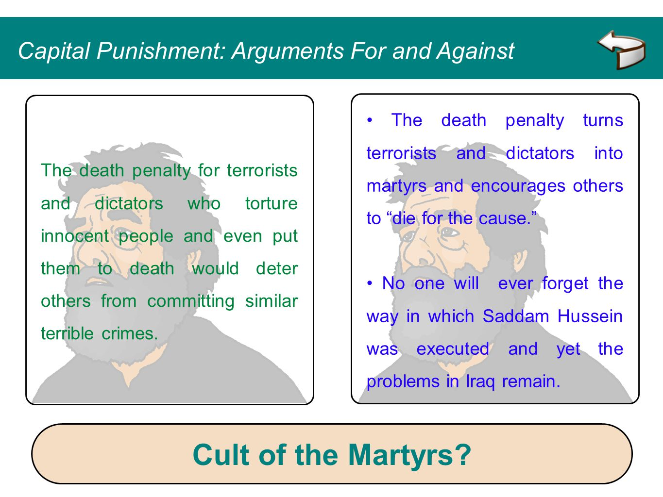 Cult of the Martyrs Capital Punishment: Arguments For and Against