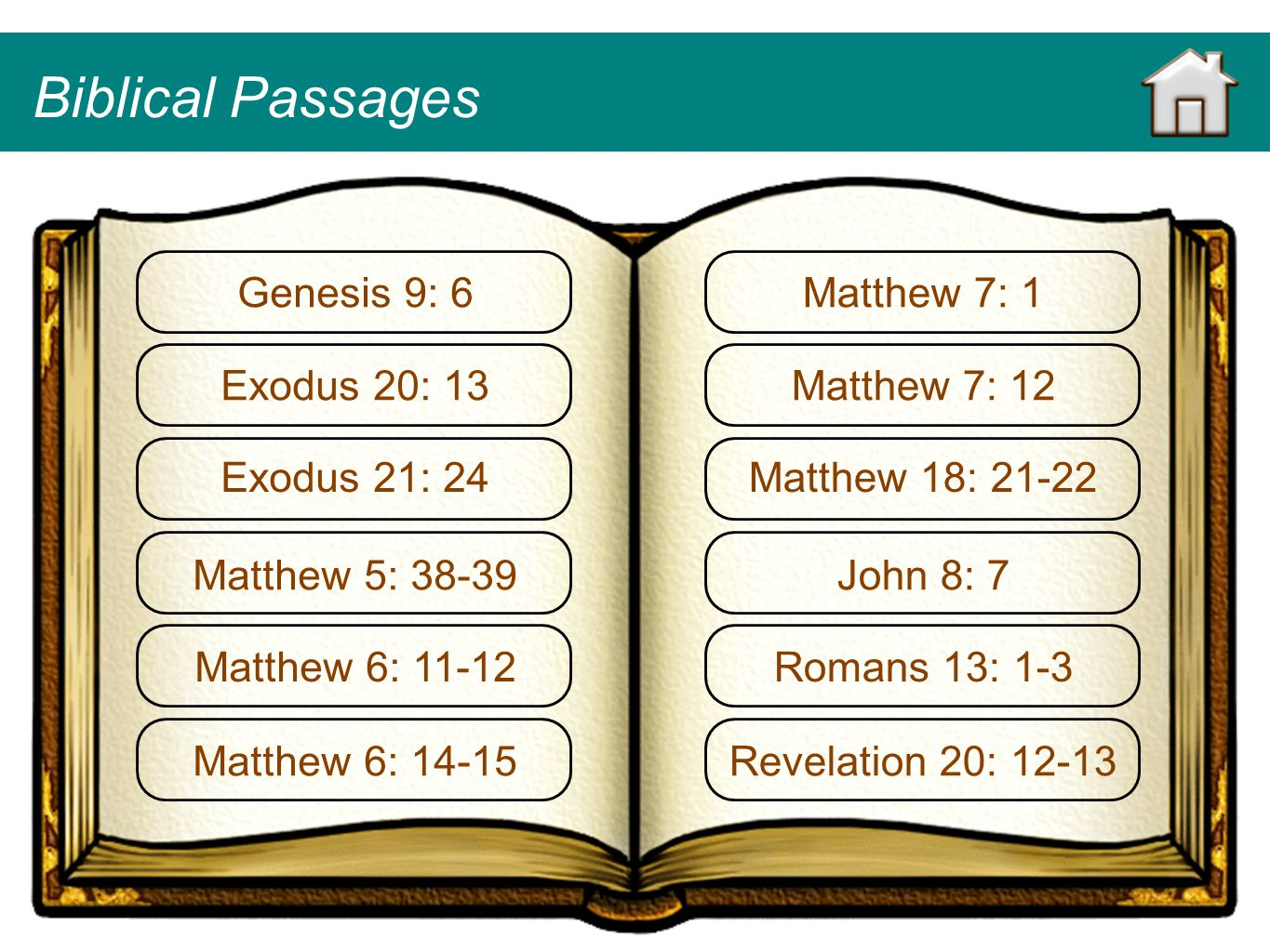 Biblical Passages Genesis 9: 6 Matthew 7: 1 Exodus 20: 13