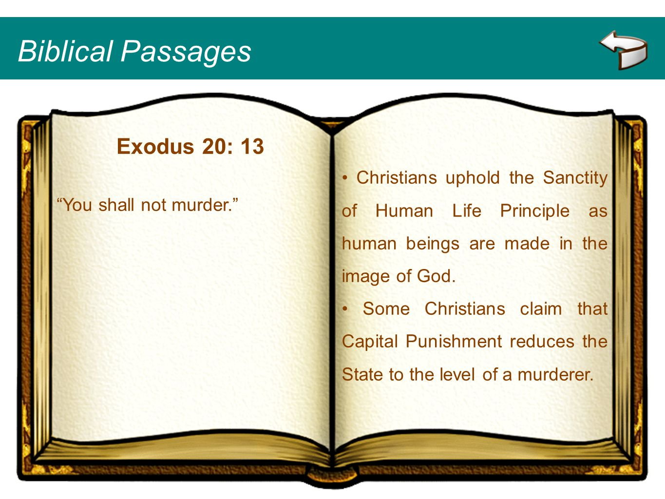 Biblical Passages Exodus 20: 13