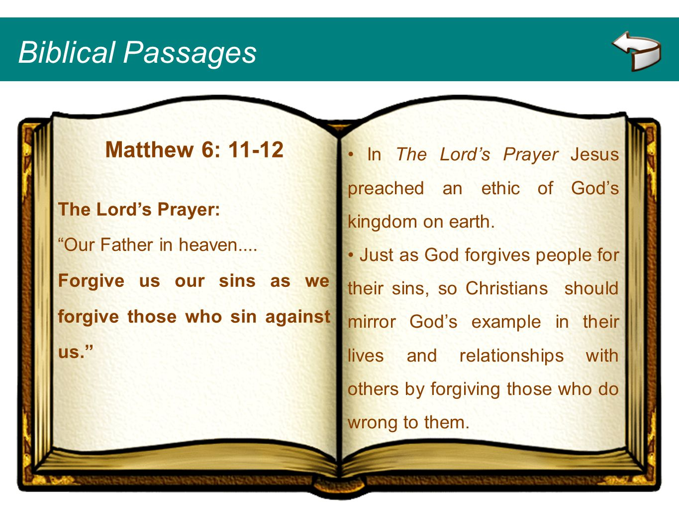 Biblical Passages Matthew 6: 11-12