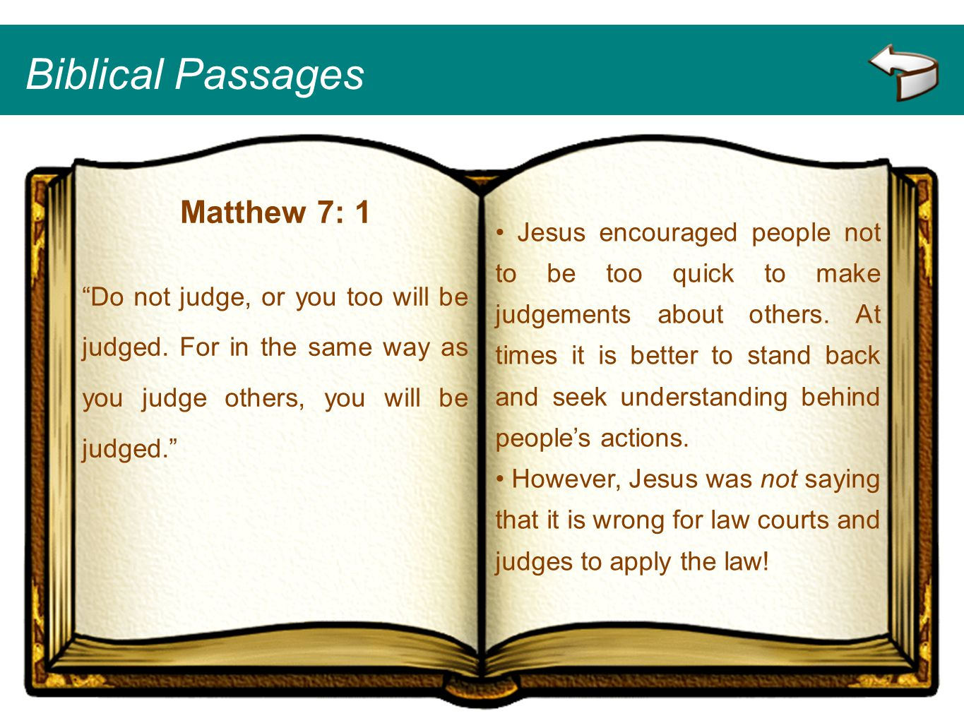 Biblical Passages Matthew 7: 1