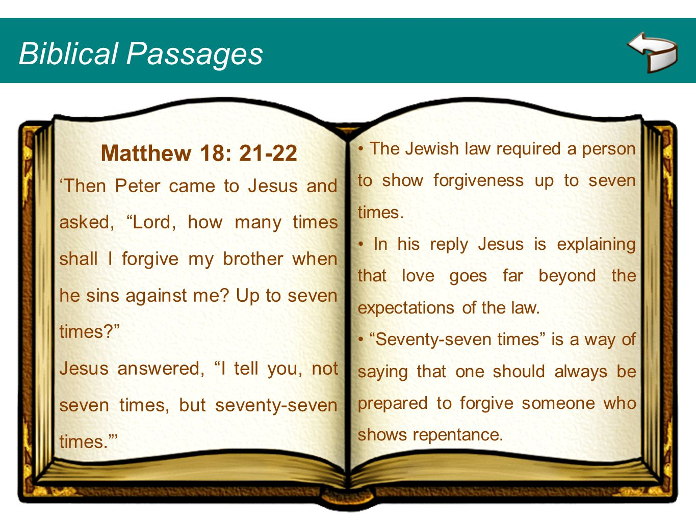 Biblical Passages Matthew 18: 21-22