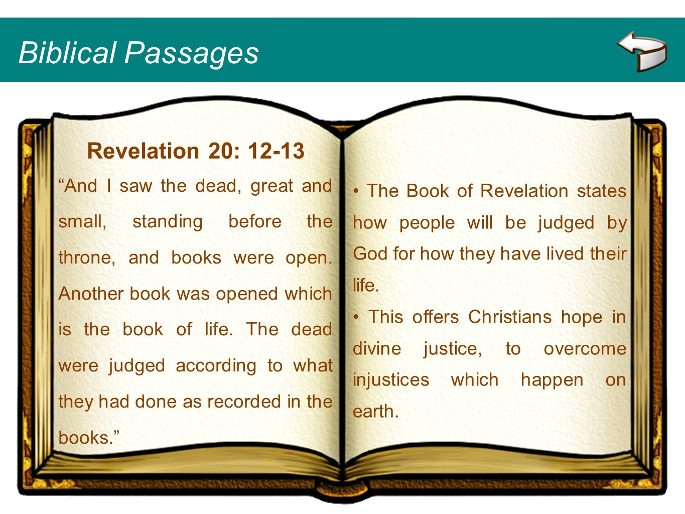Biblical Passages Revelation 20: 12-13