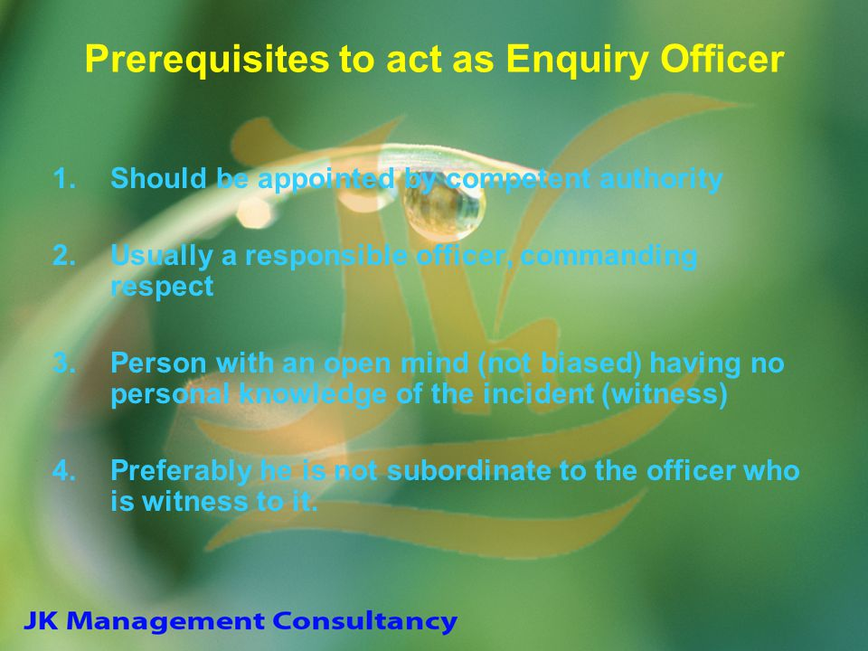 Prerequisites to act as Enquiry Officer