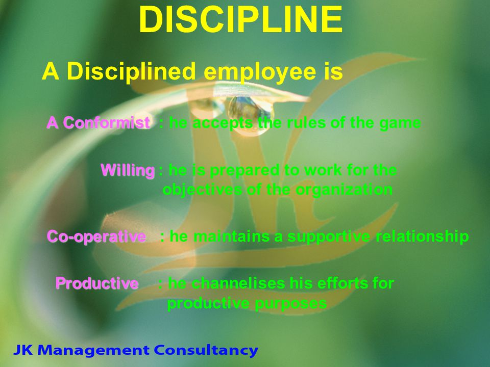DISCIPLINE A Disciplined employee is