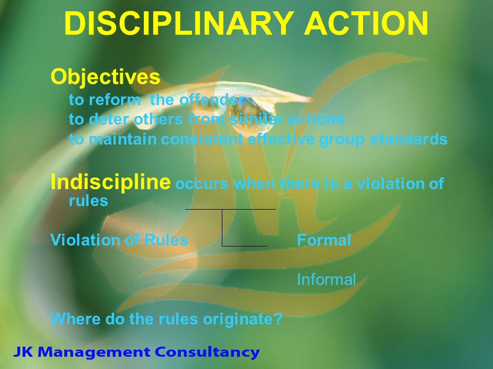DISCIPLINARY ACTION Objectives