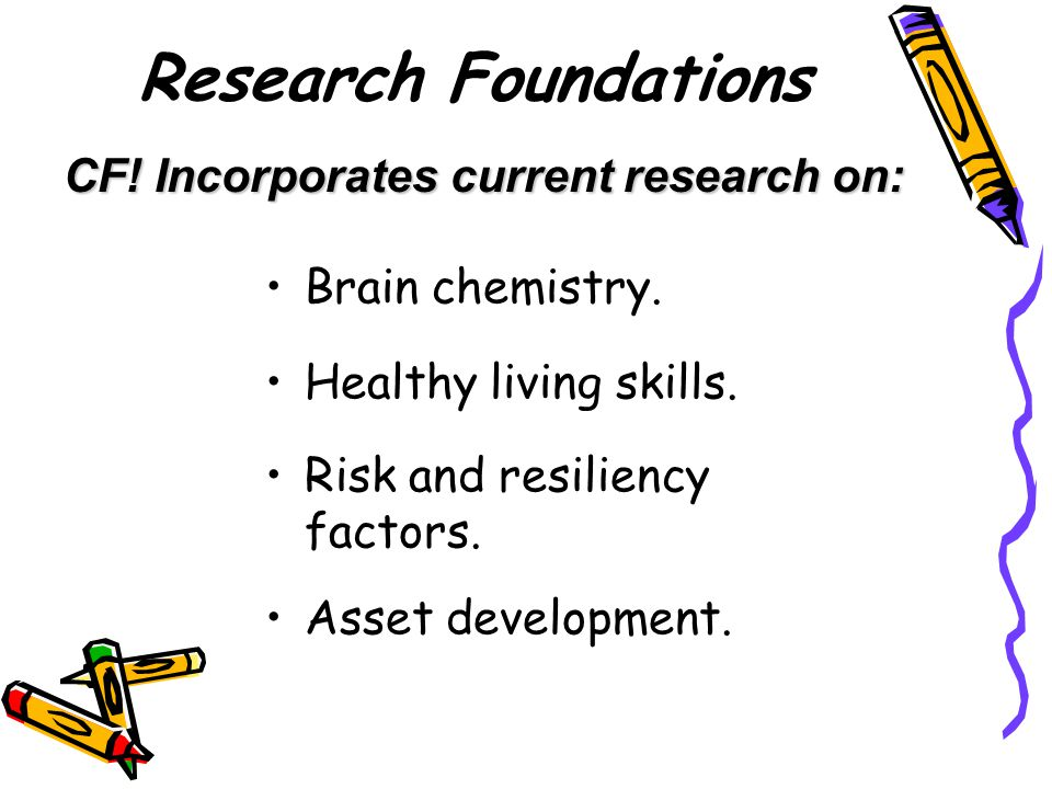 Research Foundations CF! Incorporates current research on: