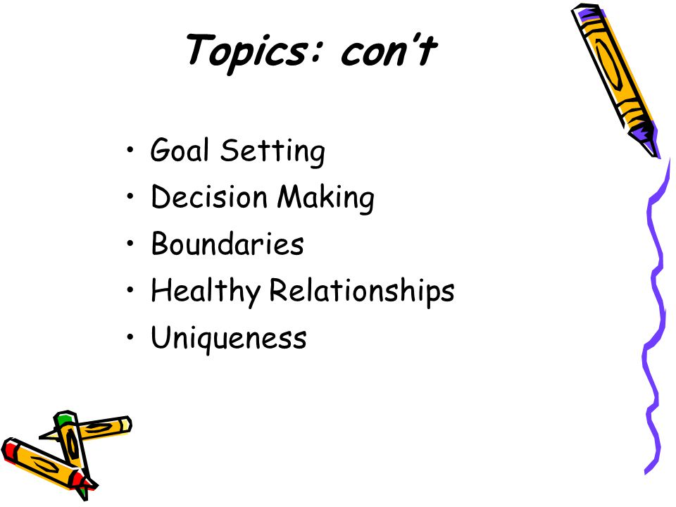 Topics: con't Goal Setting Decision Making Boundaries