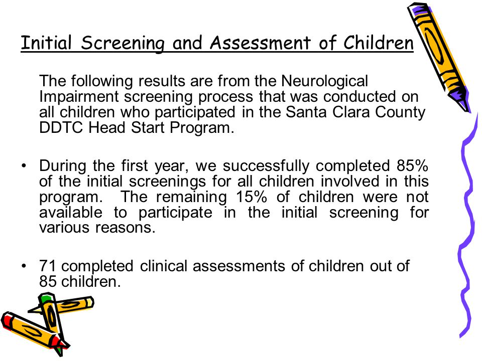 Initial Screening and Assessment of Children