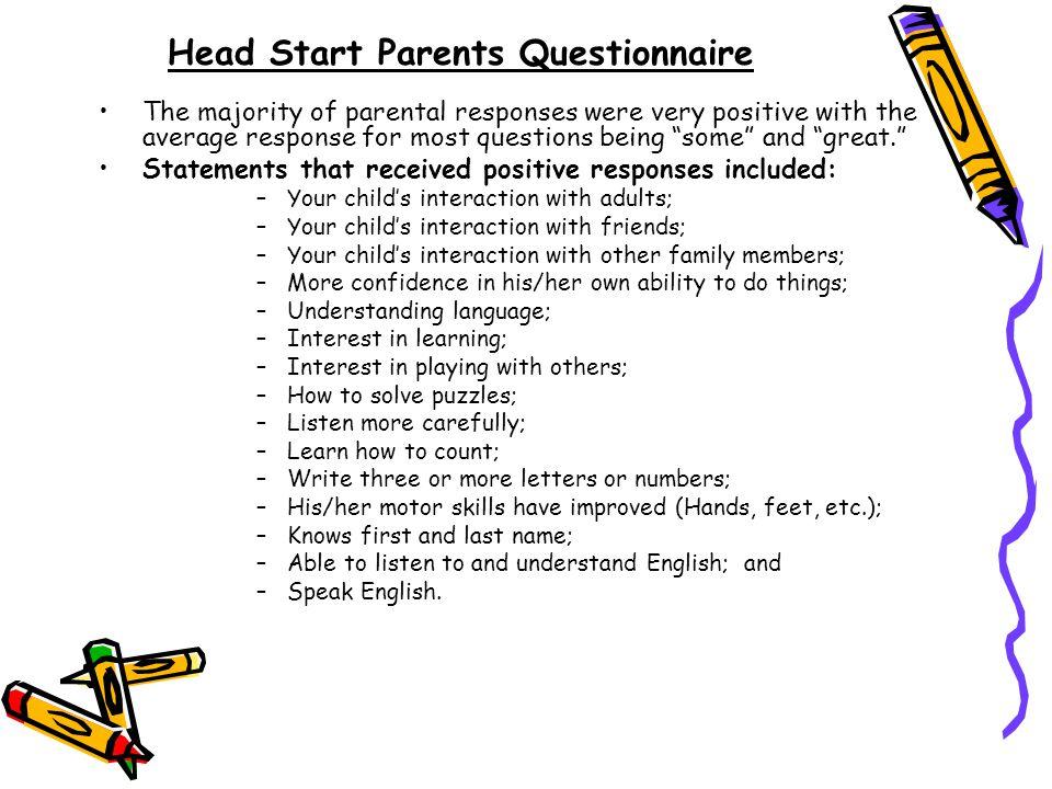 Head Start Parents Questionnaire