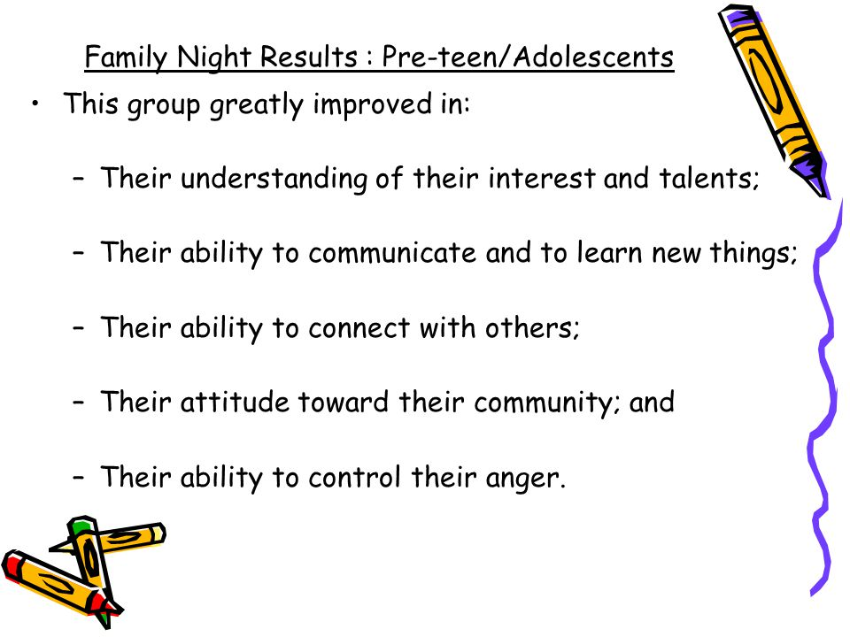 Family Night Results : Pre-teen/Adolescents