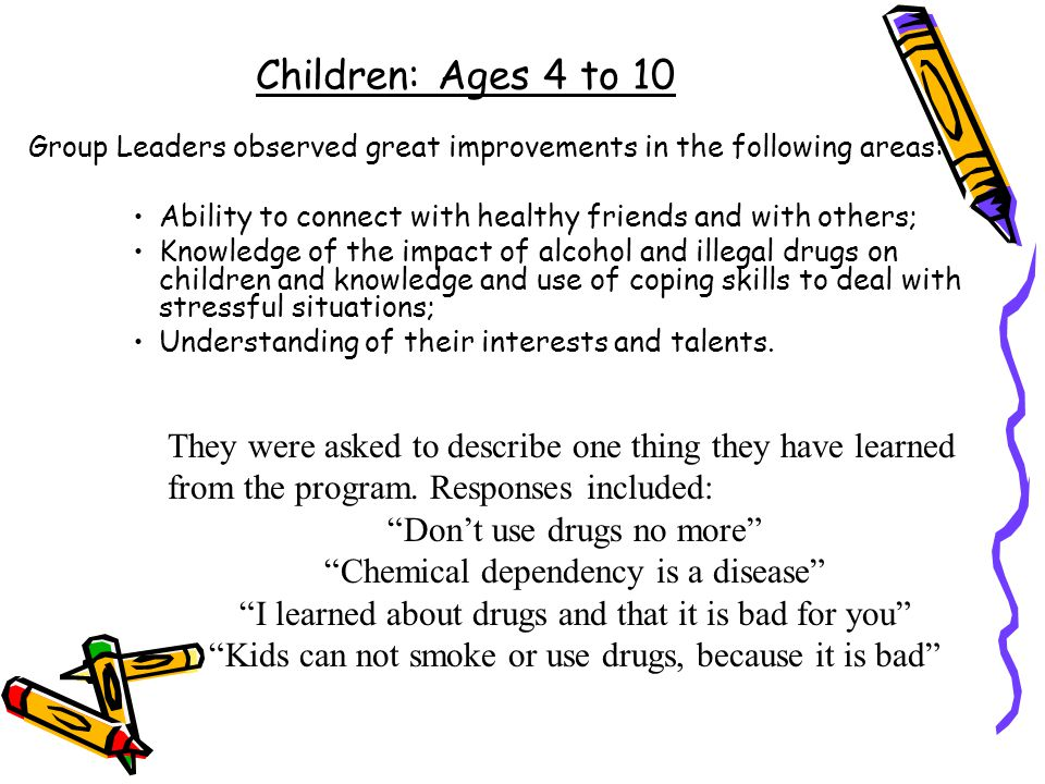 Children: Ages 4 to 10 Group Leaders observed great improvements in the following areas: Ability to connect with healthy friends and with others;