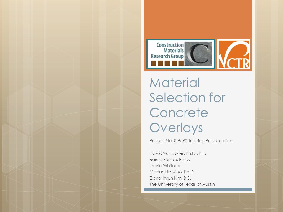 Material Selection for Concrete Overlays