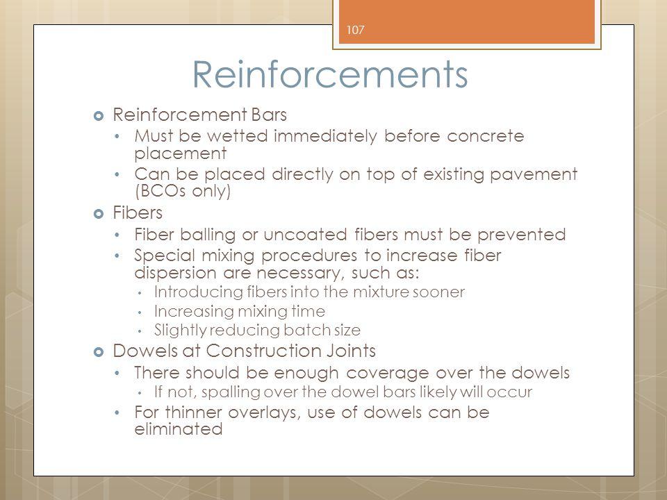 Reinforcements Reinforcement Bars Fibers Dowels at Construction Joints