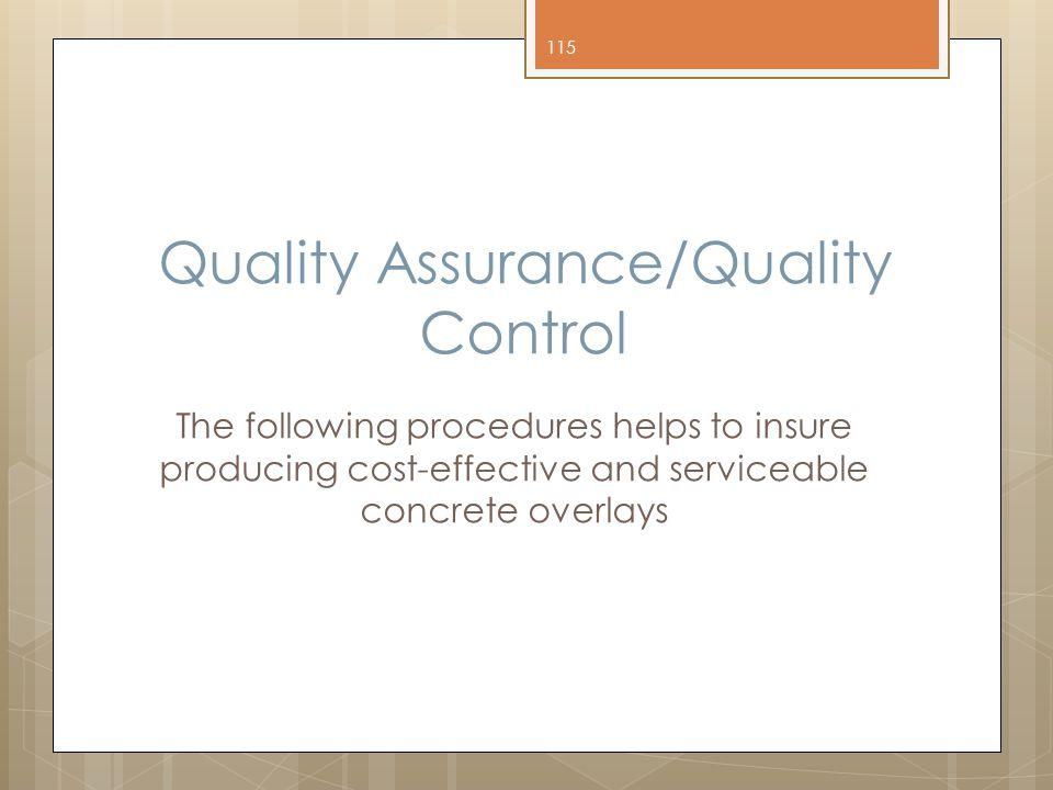 Quality Assurance/Quality Control