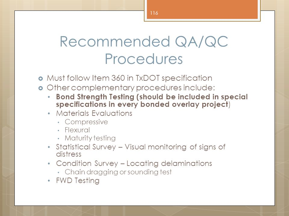 Recommended QA/QC Procedures