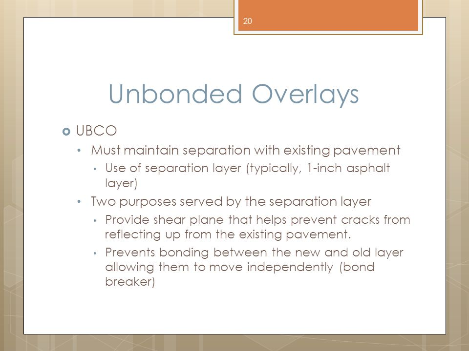Unbonded Overlays UBCO Must maintain separation with existing pavement