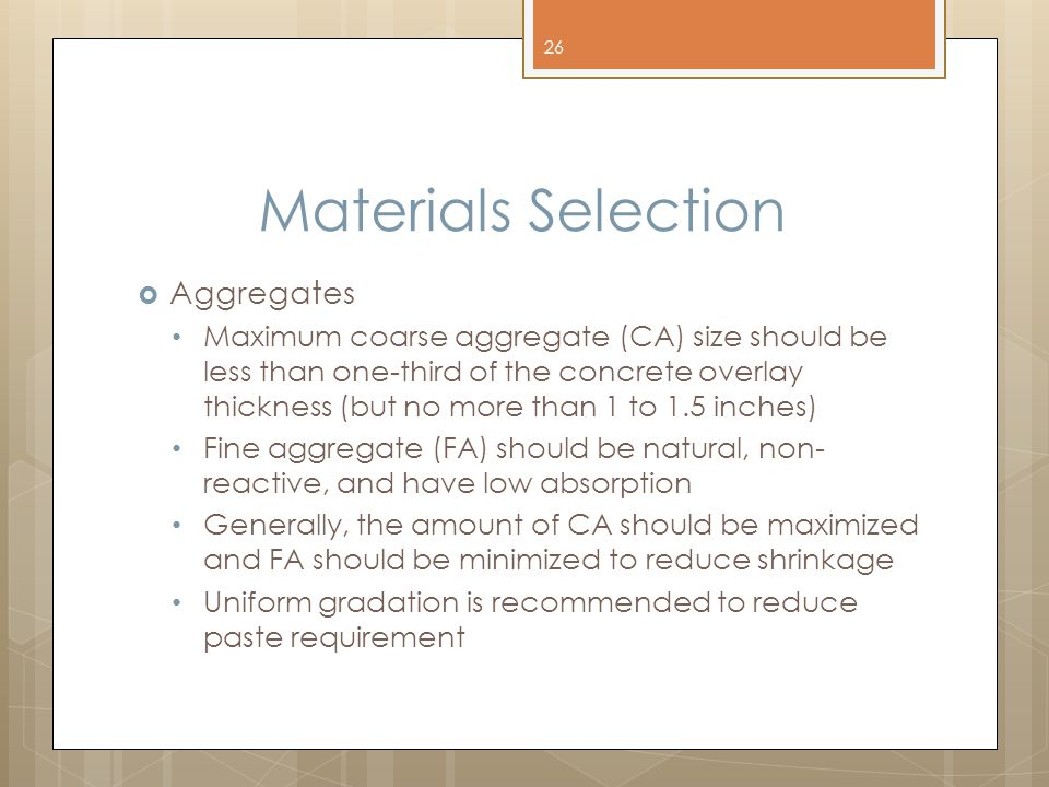 Materials Selection Aggregates