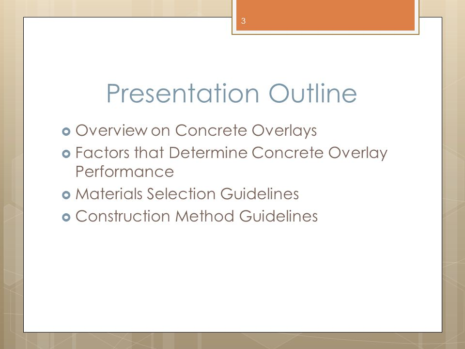 Presentation Outline Overview on Concrete Overlays