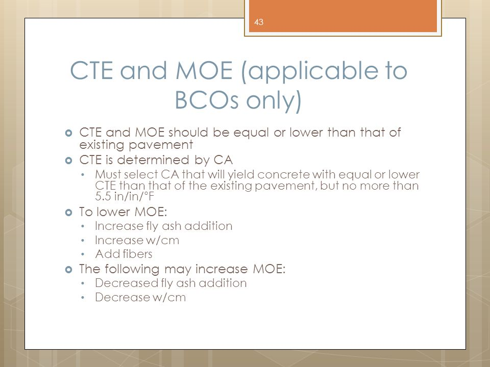 CTE and MOE (applicable to BCOs only)