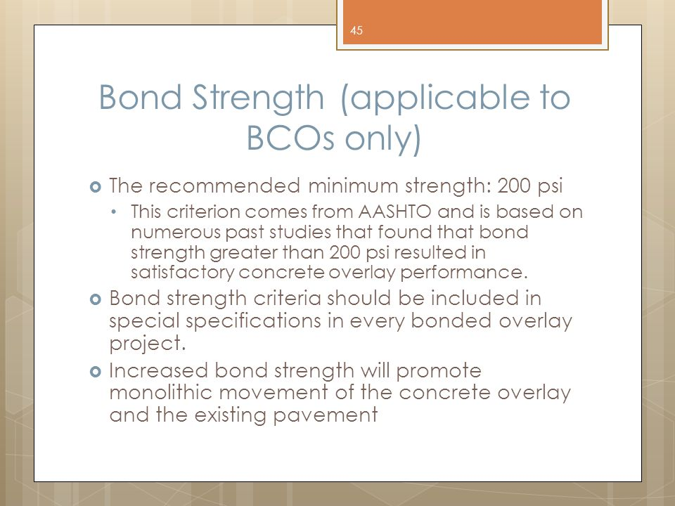 Bond Strength (applicable to BCOs only)